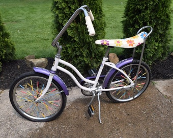 Vintage Huffy Girls Banana Seat Bike, Girls Bike, Flower Power, Purple