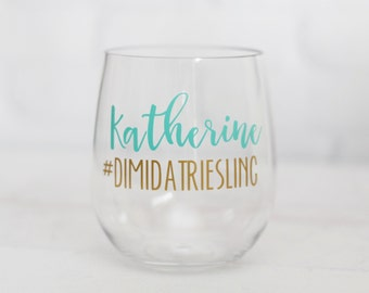 Bachelorette wine glass // wedding hashtag // personalized wine glass // Girls Weekend Gift // Destination Wedding Favors // party favors