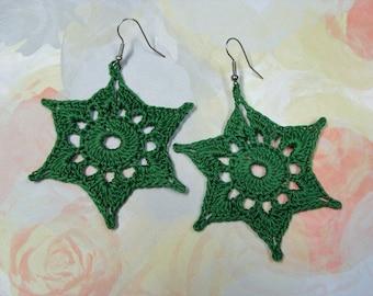 Crochet Earrings Green Stars Pierced BIG & Lightweight