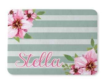 Pet Mat - Stripes and Blossoms Design - Food Mat - Placemat