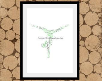 Gymnast Word Art, Gymnastics Word Cloud, Personalised Gymnast Print, Gift for Gymnastics Teacher, Gymnastic Themed Gift.