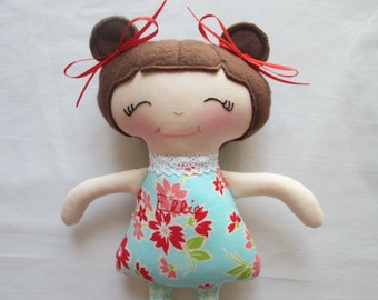 Soft Doll with Brown Hair, Stocking Stuffer, Free Personalization, 11 inch Brunette, Made to Order, Baby's First Doll, Toddler Gift