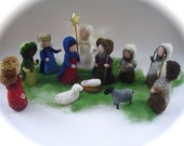 Wet  felted  Nativity Set. Waldorf .12 pieces.Christmas.