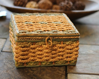 Vintage Woven Wicker Sewing Box with Random Notions