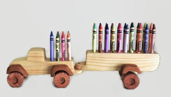 Toy Car Holder Truck : Toy truck wooden crayon holder