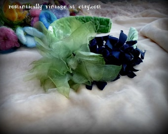 Vintage Flowers, Handmade, Headband, Green, Shabby Chic, Accessories, Romantic, For Women, French Country,