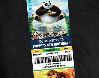 Kung Fu Panda 3 Movie Theater Themed Birthday Party Invitation. Customizable, Printable, Banner