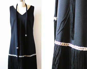 1960s black fringe dress // 1920s inspired // vintage dress