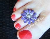 Toe Ring - Silver - Purple Flower - Stretch Bead Toe Ring