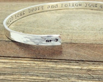 Secret Message Bracelet | Sterling Silver Cuff | Secret Message or Quote Hand-Stamped Inside | Inspirational Gift | Graduation Gift
