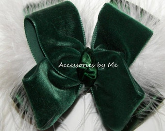 Green Velvet Bow, Hunter White Hair Clip, Evergreen Marabou Feathers Bow Band, Girls Baby Toddler Bow Barrettes, Holiday Wedding Hair Band