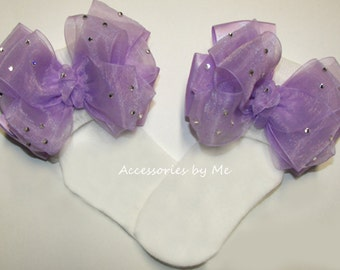 Glitzy Pageant Socks / Lavender or Purple Organza Satin Ribbon Bows / Infant Socks, Baby Socks, Girls Toddler Socks / Flower Girl Bobby Sock