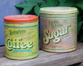 Vintage Ballonoff Coffee + Sugar Tins