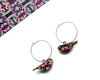 Bird Hoop Earrings - Bird Earrings - Bird Jewellery - Gifts For Women  - Wooden Birds - Bird Dangle Earrings - Mothers Day Gift - Cute Hoops
