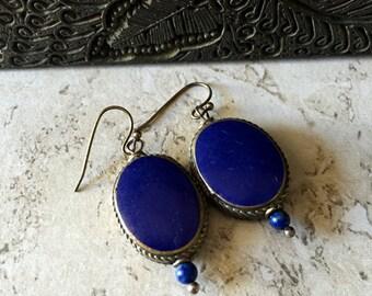 Tibetan Earrings,Tibetan Jewelry,Lapis Lazuli Earrings,Tibetan Lapis Earrings,Tribal Earrings,Lapis Everyday Earrings,Festival Jewelry,Lapis