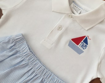 Polo Shirt with Embroidery Design and Shorts Set