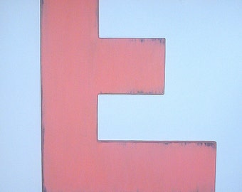 Wooden Letters block style 18 inch large letter E painted Tropic orange distressed cabin decor