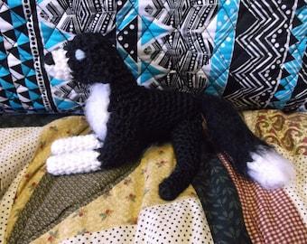 Crochet dog, black and white dog, fluffy dog, black dog amigurumi, border collie dog, dog amigurumi, ready to ship