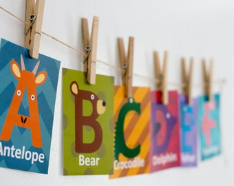 Animal Alphabet Cards, Nursery Wall Art, Animal Wall Cards, Alphabet Print, Nursery Decor, Flash Card Set