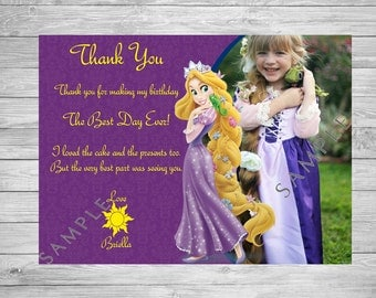 Rapunzel Thank You Card, Tangled Thank You Card, Tangled Birthday Card, Rapunzel Birthday, Princess Thank You Card, Disney Princess Birthday