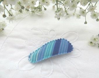 Blue stripe mini snap clip