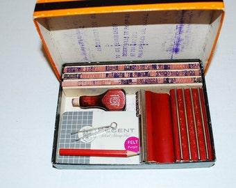 Vintage Stamp Kit, Atlas Type Set, Rubber Stamp, Printing Supplies, Printing Presses, Scrapbooking, Craft Supplies, Letterpress,