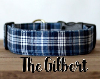 "Blue, Navy & White Modern Dapper Plaid Dog Collar ""The Gilbert"""