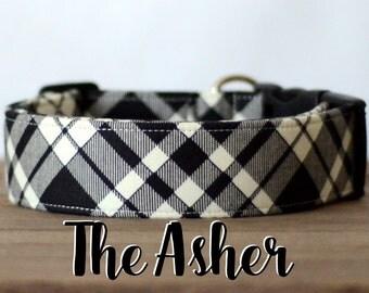 "Cream & Black Modern Dapper Plaid Dog Collar  ""The Asher"""