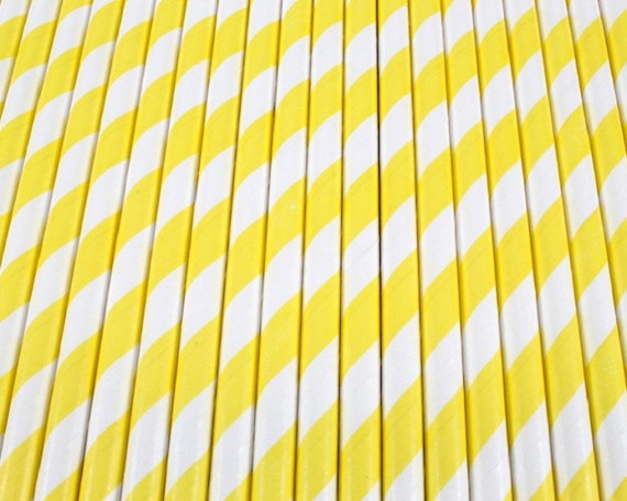 25 Yellow and White Diagonal Stripe Paper Drinking Straws - Party Decor Supplies Tableware