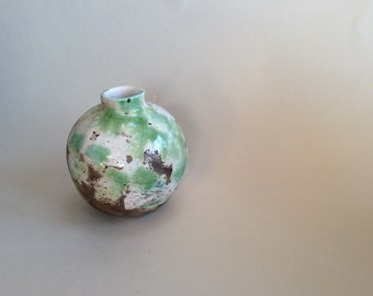 Earth Jar - soft green and white, smoked fired
