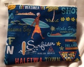 "Hawaiian fabric flat zipper cosmetic pouch  blue  ""surfer boy hawaii"""