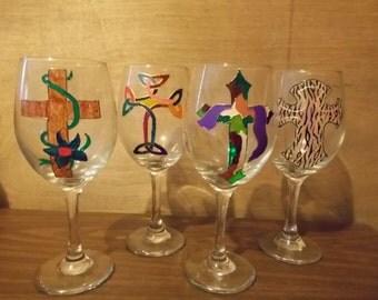 Hand painted Crosses Wine Glasses - Set of 4