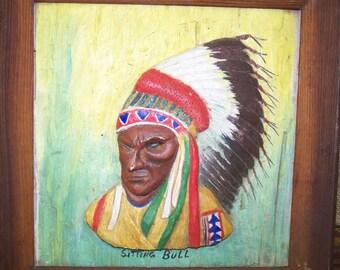 Sitting Bull Carved Picture Folk Art Sitting Bull Portrait