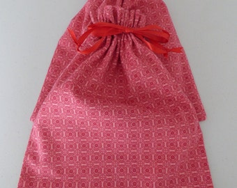 Pink with Red Geometric Design Flannel Shoe Bags