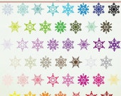 SALE 75% OFF Clip Art - 46 Snowflakes - Winter - Christmas -  ClipArt Scrapbooking Personal Commercial G1162