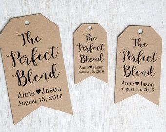 The Perfect Blend - Wedding Favor Tags - Coffee Wedding Favors - Tea Wedding Favors - Drink Wedding Favors - Custom Tags - MEDIUM