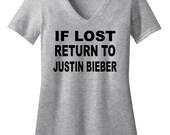If I'm Lost Return to Justin Bieber - Justin is Bae - Justin Bieber Shirt - Concert Tshirt - Womens V-Neck Shirt