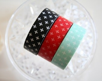Red Black Mint Cross Washi Tape Set of 3