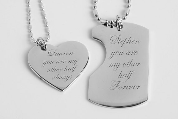 His and Hers Necklaces, Couples Necklaces, Silver Dog Tag & Heart Necklace Set Engraved Free, Personalized Necklace Set, Custom Dog Tag Set