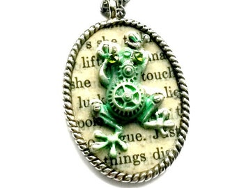 Steampunk Frog Necklace Handmade Gift