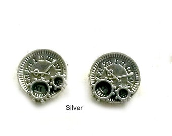 Mini clocks and Gear Studs Steampunk Silver brass post Earrings Handmade Gift