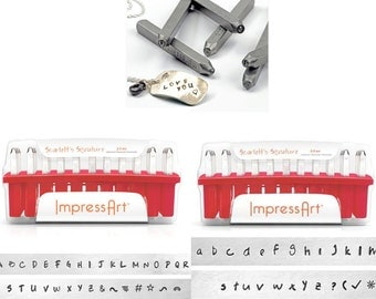 ImpressArt 2.5mm Scarlett's Signature, Choose UPPER or LOWER Letter sets, Jewelry Stamping tools, stamps, metal stamps, metal stamping tools