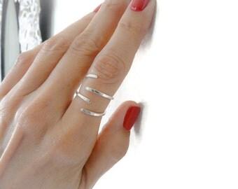 Sterling Silver Rings// Open Rings//Stackable Rings//Hammered Rings//Women Rings