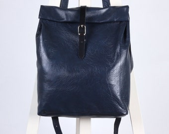 Navy blue leather backpack rolltop rucksack / To order