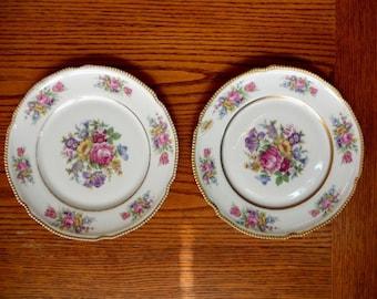 "Castleton Rose pattern by the Castletone China Company. Two 7 7/8"" salad plates"