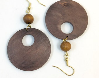 Vintage Boho Wood Hoop Dangle Earrings