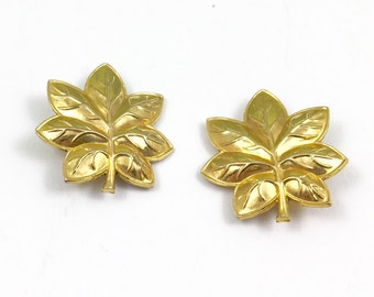 WWII Gold Filled Military Officer Rank Insigna Oak Leaves Pins Set of 2