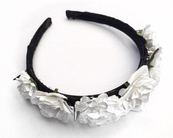 White Spike Rose Headband