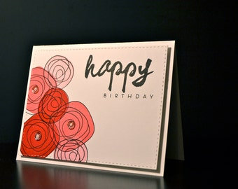 Handmade Birthday Card, Female Birthday Greeting, Flower Card