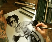 Female Boxer Black and White Tattoo Drawing